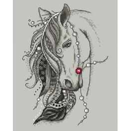 Zestaw z nadrukiem i muliną - Koń z piórem