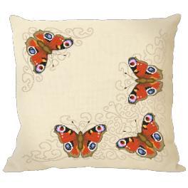 Zestaw z muliną i poszewką - Poduszka z motylami