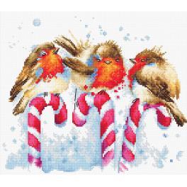 Zestaw z muliną - Świąteczne ptaszki