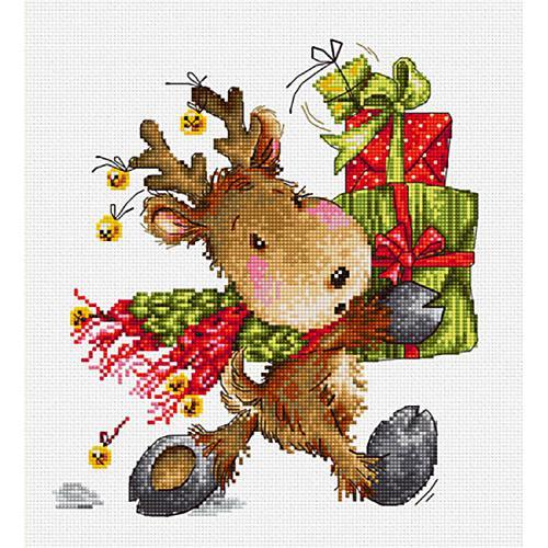 Zestaw z muliną - Świąteczny jelonek z prezentami