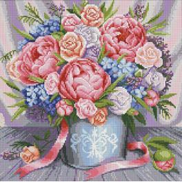 Zestaw do diamond painting - Różowe kwiaty