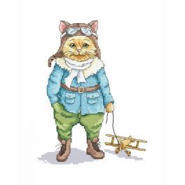 Zestaw z nadrukiem i muliną - Podniebny kot