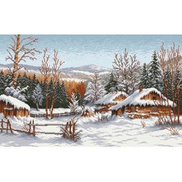 Kanwa z nadrukiem - Chaty zimą - S. Sikora