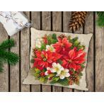 Zestaw z muliną i poszewką - Poduszka - Świąteczna magia czerwieni
