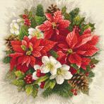 Zestaw z nadrukiem i muliną - Świąteczna magia czerwieni