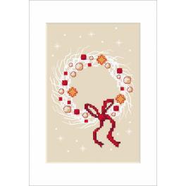 Zestaw z muliną - Kartka świąteczna - Wianek