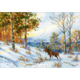 Zestaw z muliną - Łoś w zimowym lesie wg. V. L. Muranova