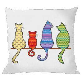 Wzór graficzny online - Poduszka - Kolorowe koty