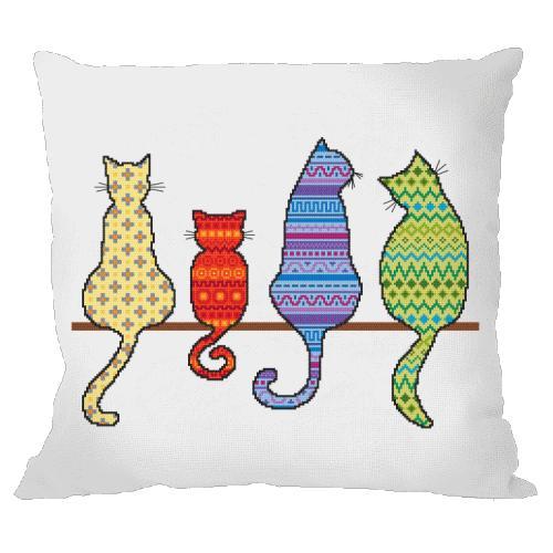 Zestaw z muliną i poszewką - Poduszka - Kolorowe koty