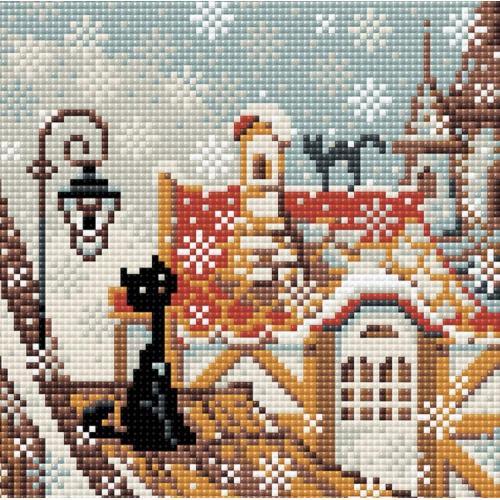 Zestaw do diamond painting - Zimowe miasto i koty