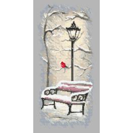 Aida z nadrukiem - Zimowa ławeczka