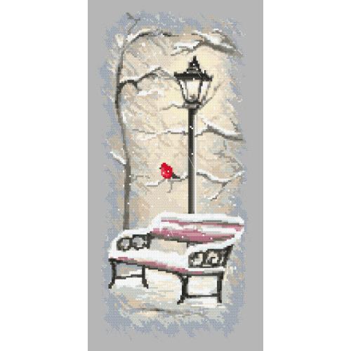 Kanwa z nadrukiem - Zimowa ławeczka