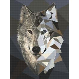 Aida z nadrukiem - Mozaikowy wilk