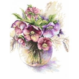 Kanwa z nadrukiem - Purpurowe ciemierniki