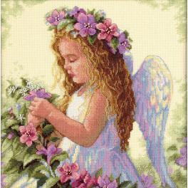 Zestaw z muliną - Anioł wśród kwiatów