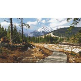 Zestaw z nadrukiem i muliną - Górskim szlakiem