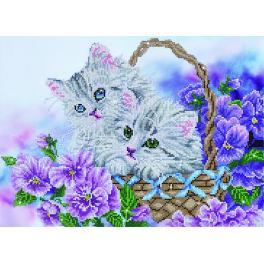 Zestaw do diamond painting - Koszyk z kotkami