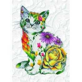 DD13.021 Zestaw do diamond painting - Kwiatowy kotek