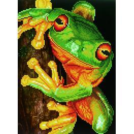 Zestaw do diamond painting - Zielona żaba drzewna