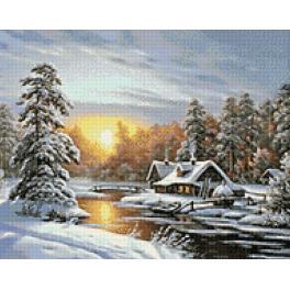 Zestaw do diamond painting - Zimowy wschód słońca
