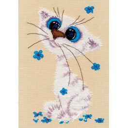 Zestaw z muliną - Mały biały kotek