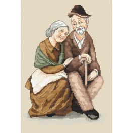 Zestaw z nadrukiem i muliną - Babcia i dziadek