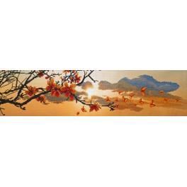 NCP 3229 Zestaw do haftu z podmalowanym tłem - Wiosenny zachód słońca