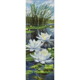 NCB 3089 Zestaw z muliną i podmalowanym tłem - Białe lilie