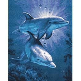 Zestaw do diamond painting - Randka delfinów