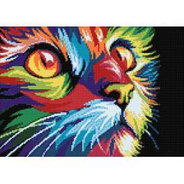 Zestaw do diamond painting - Tęczowy kot