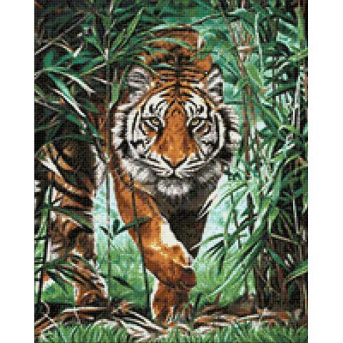 Zestaw do diamond painting - Niebezpieczny tygrys