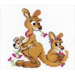 RIO 1786 Zestaw do haftu z włóczką - Rodzinka kangurów