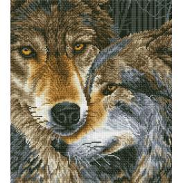 Zestaw do diamond painting - Tulące się wilki