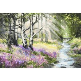 Zestaw z nadrukiem i muliną - Wiosenny las