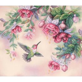 DIM 13139 Zestaw z muliną i podmalowanym tłem - Koliber i fuksja