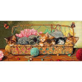 Zestaw z muliną - Kociaki w koszyku