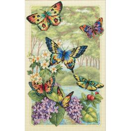 Zestaw z muliną - Motyle wśród kwiatów
