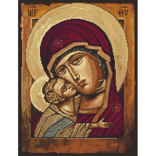 Zestaw z nadrukiem i muliną - Ikona Matki Boskiej z dzieciątkiem