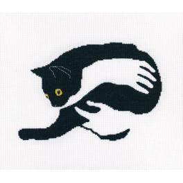 Zestaw z muliną - Czarny kot na rękach