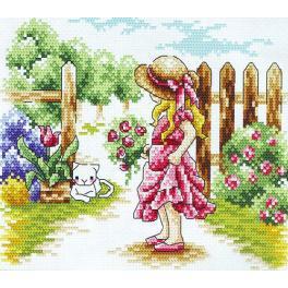 Zestaw z muliną - Dziewczynka przy płocie