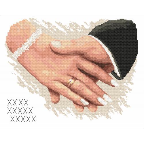 Kanwa z nadrukiem - Pamiątka ślubna - Dłonie