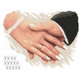Zestaw z nadrukiem i muliną - Pamiątka ślubna - Dłonie