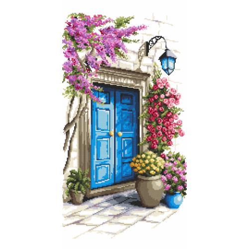 Zestaw z nadrukiem i muliną - Tajemnicze drzwi
