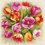 Zestaw z nadrukiem i muliną - Czarujące tulipany