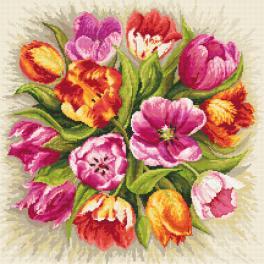 Zestaw z muliną - Czarujące tulipany