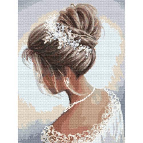 Zestaw z muliną i koralikami - Dama w bieli