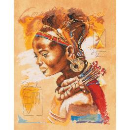 LPN-0008009 Zestaw do haftu z podmalowanym tłem - Afrykanka