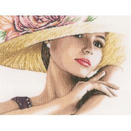 LPN-0168602 Zestaw do haftu - Dama w kapeluszu