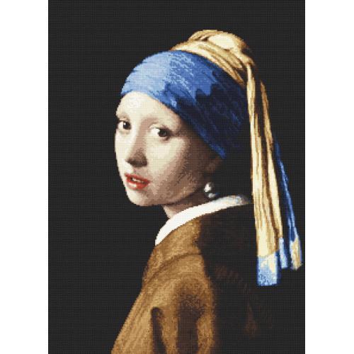 Zestaw z nadrukiem i muliną - Dziewczyna z perłą - J. Vermeer
