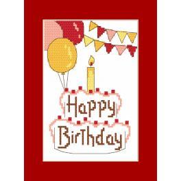 Zestaw z muliną i kartką - Kartka - Happy Birthday